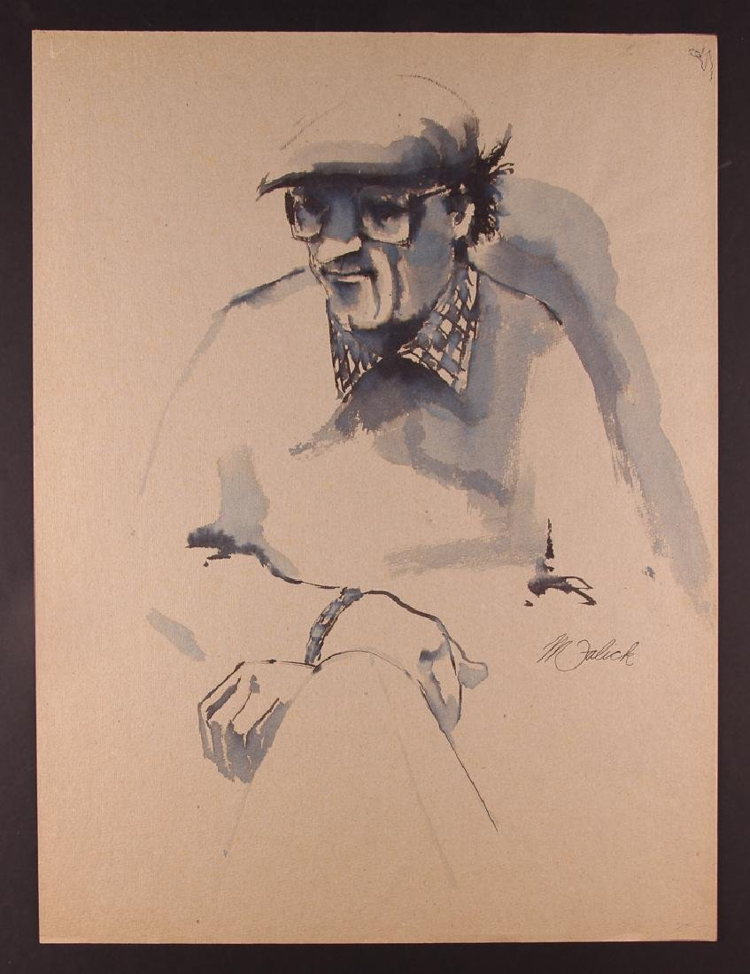 Michael Falick ink wash drawing of  Dave Brubeck.
