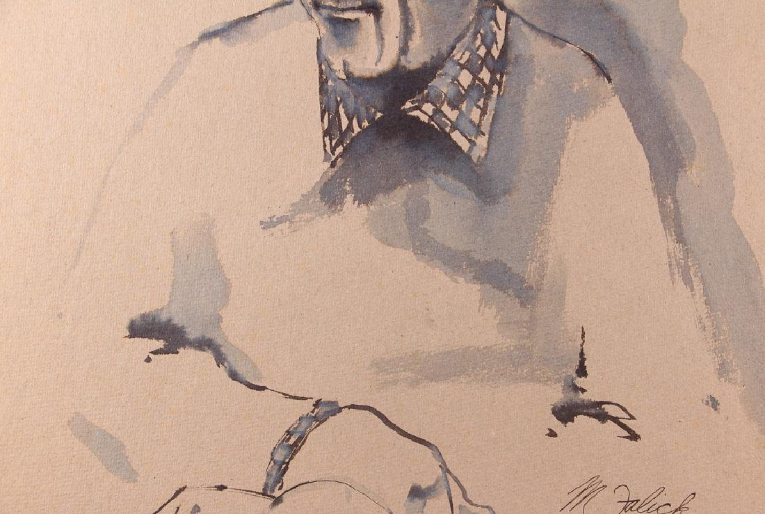 Michael Falick ink wash drawing of  Dave Brubeck. - 4