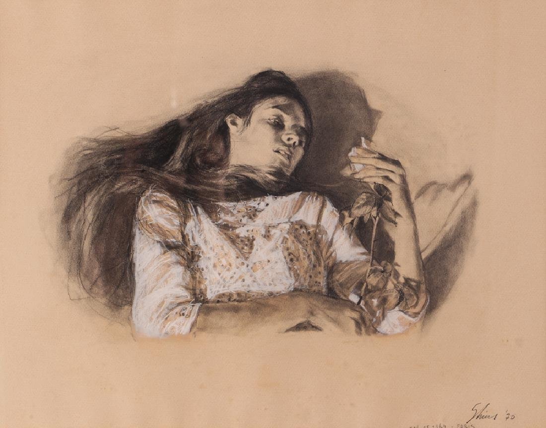 "Shirl Goedike 1969 drawing ""Girl and the Rose"""