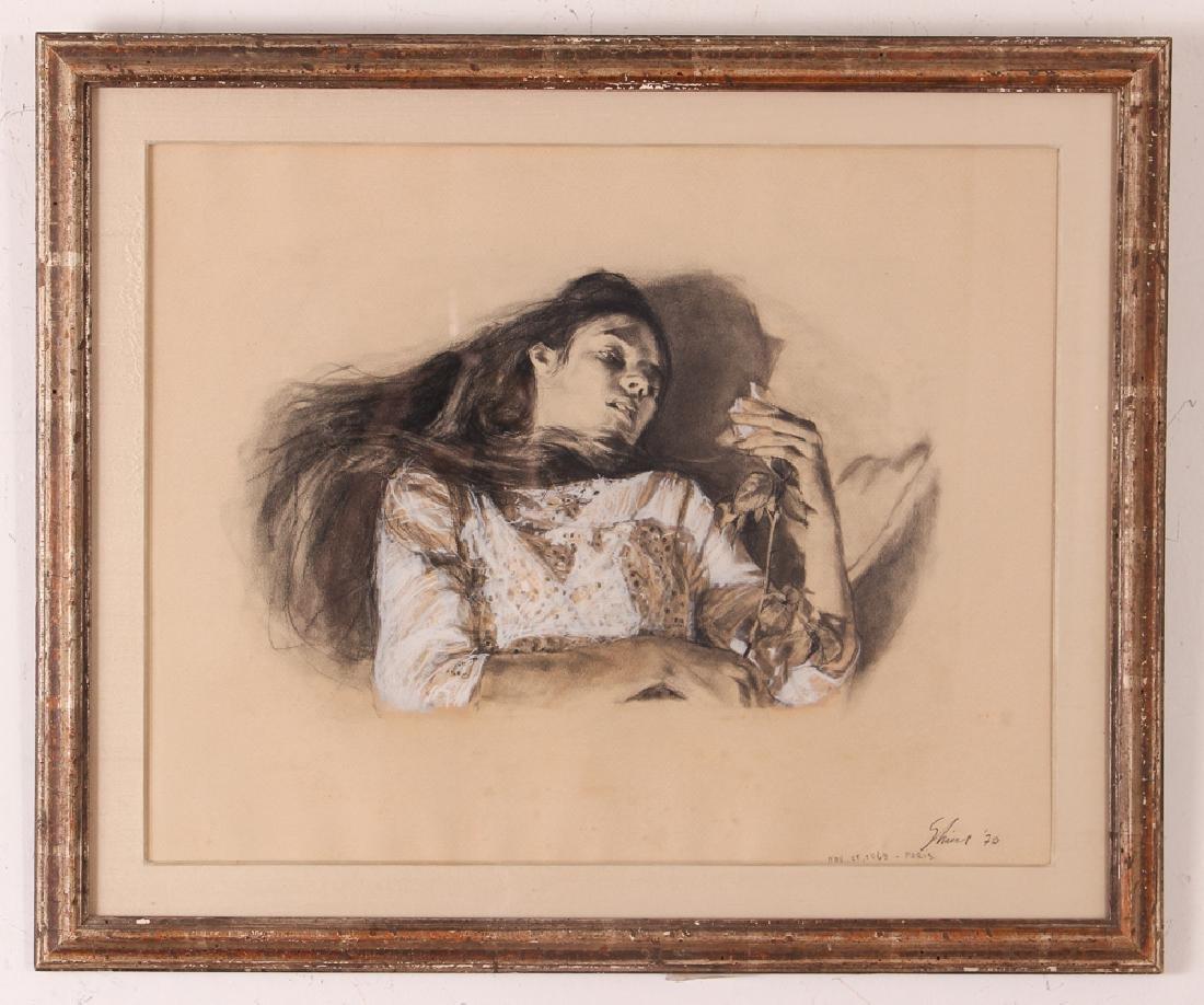 "Shirl Goedike 1969 drawing ""Girl and the Rose"" - 2"