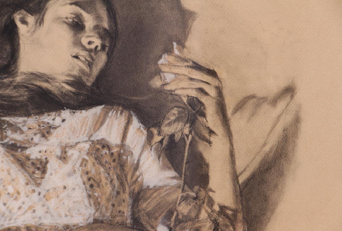 "Shirl Goedike 1969 drawing ""Girl and the Rose"" - 5"