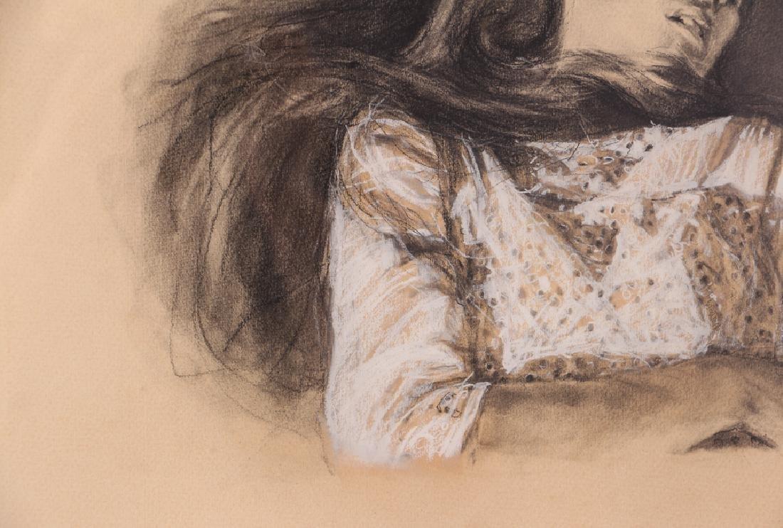 "Shirl Goedike 1969 drawing ""Girl and the Rose"" - 6"