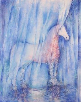 Mira Hocking White Horse Watercolor