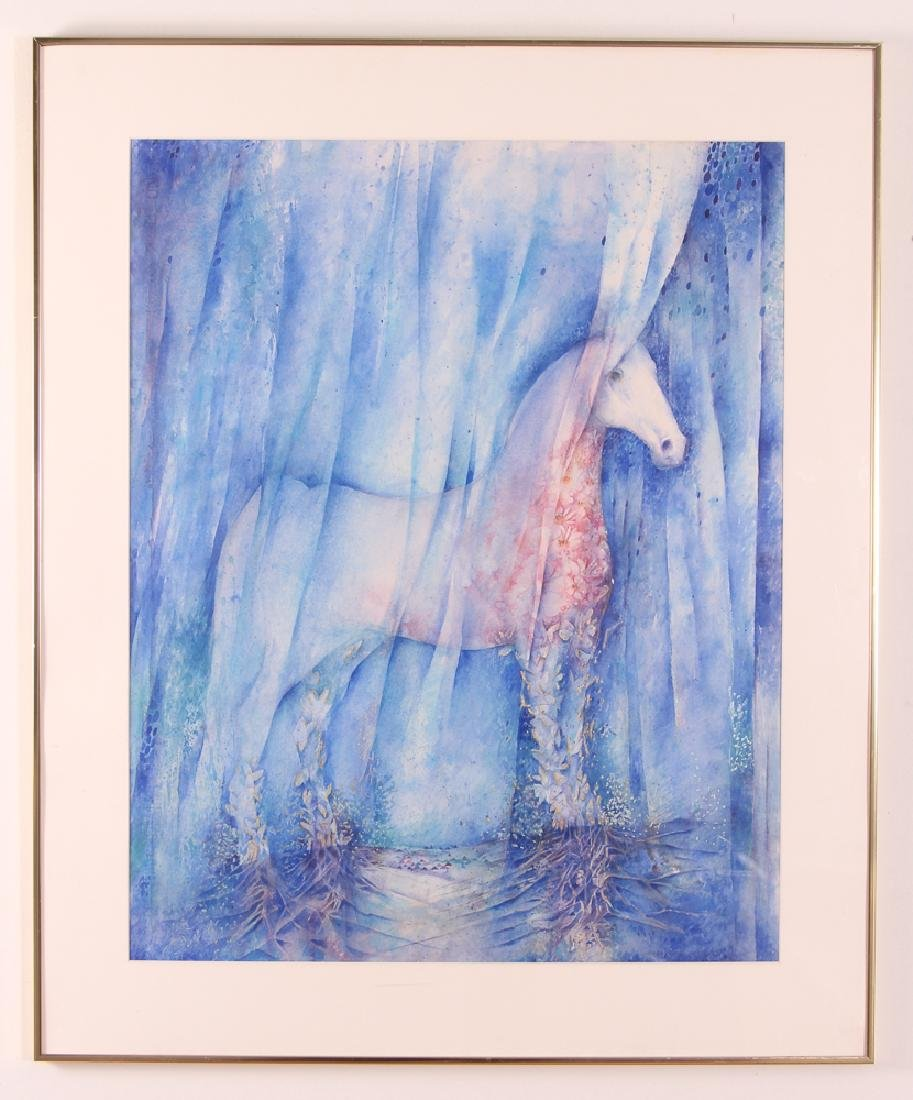 Mira Hocking White Horse Watercolor - 2