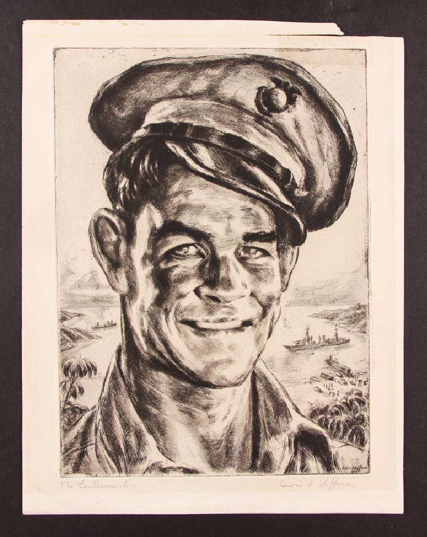 Irwin Hoffman,  1944 etching  The Leatherneck,