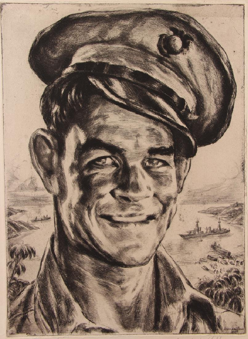 Irwin Hoffman,  1944 etching  The Leatherneck, - 4