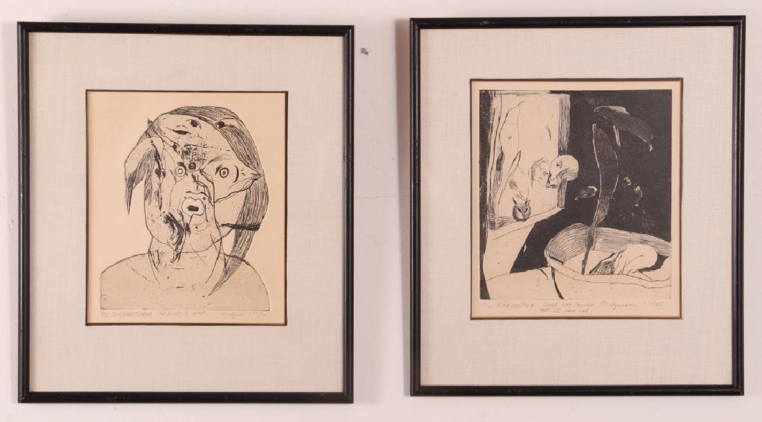 Two Abstract Etchings signed Hyman