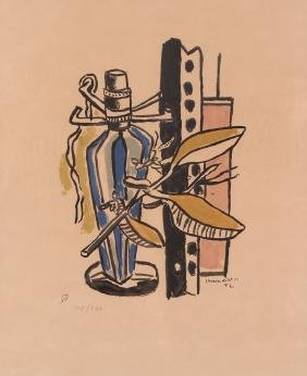 Fernand Leger Still Life With Blue Bottle