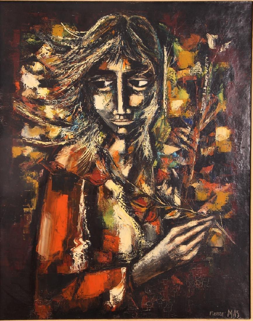 Pierre Mas Portrait of a Forlorn Woman Oil Painting