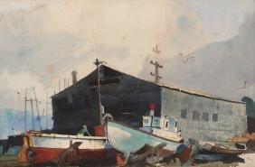 """Roy Martell Mason watercolor """"Boat Repair Dock"""""""