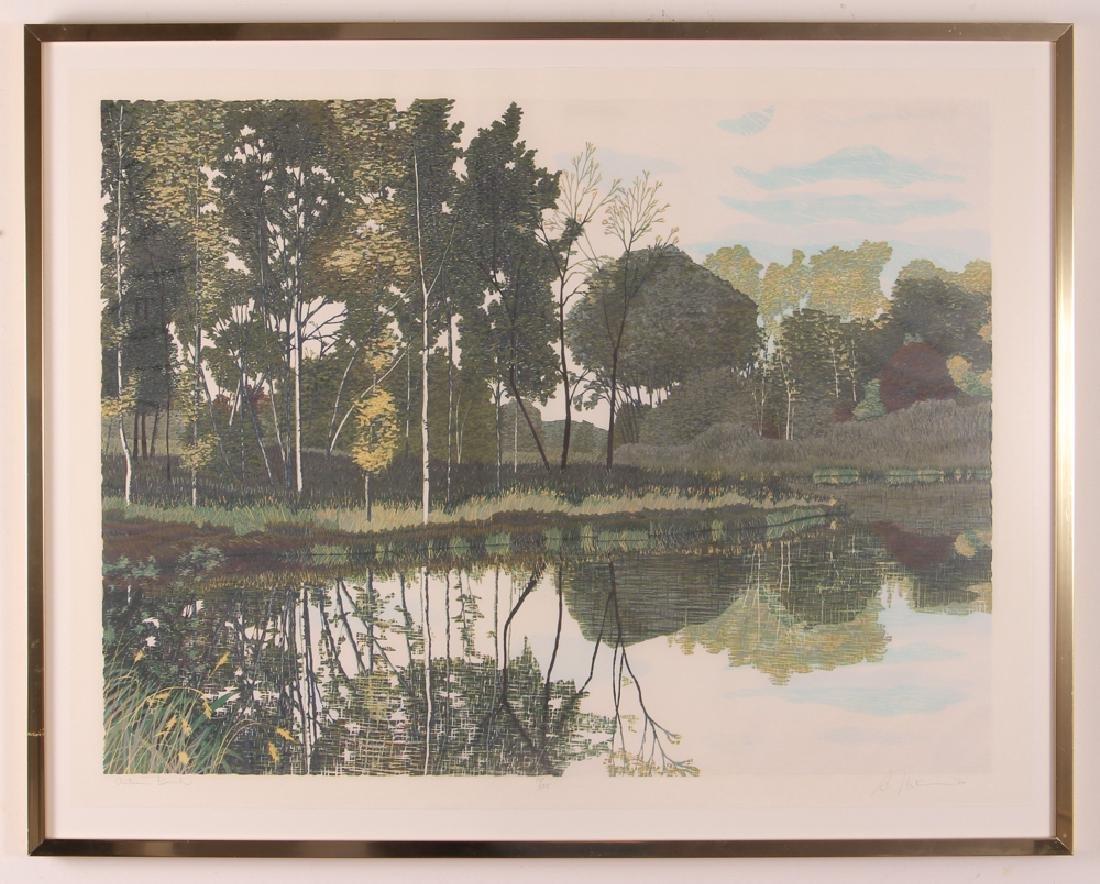 Gordon Mortensen Autumn Birch Reduction Woodcut - 2