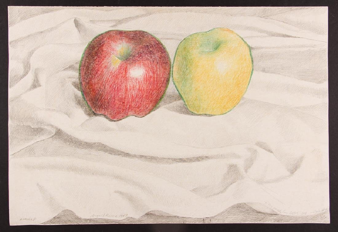 August Mosca 1968 Still-life, Apples drawing