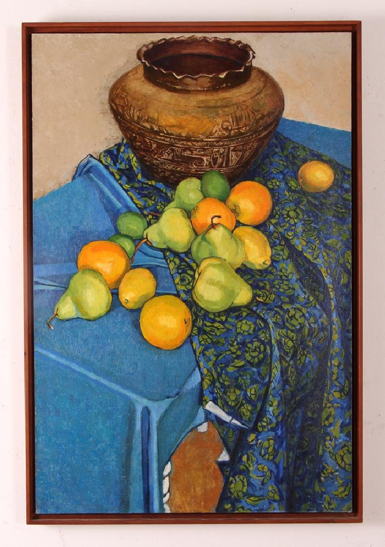 "Jerry Pfohl oil ""Still Life of Oranges and Pears"" oil"