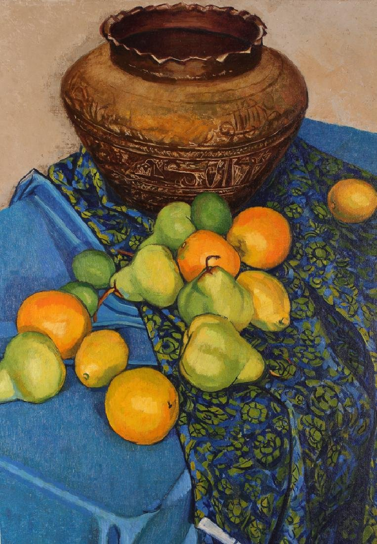 "Jerry Pfohl oil ""Still Life of Oranges and Pears"" oil - 3"