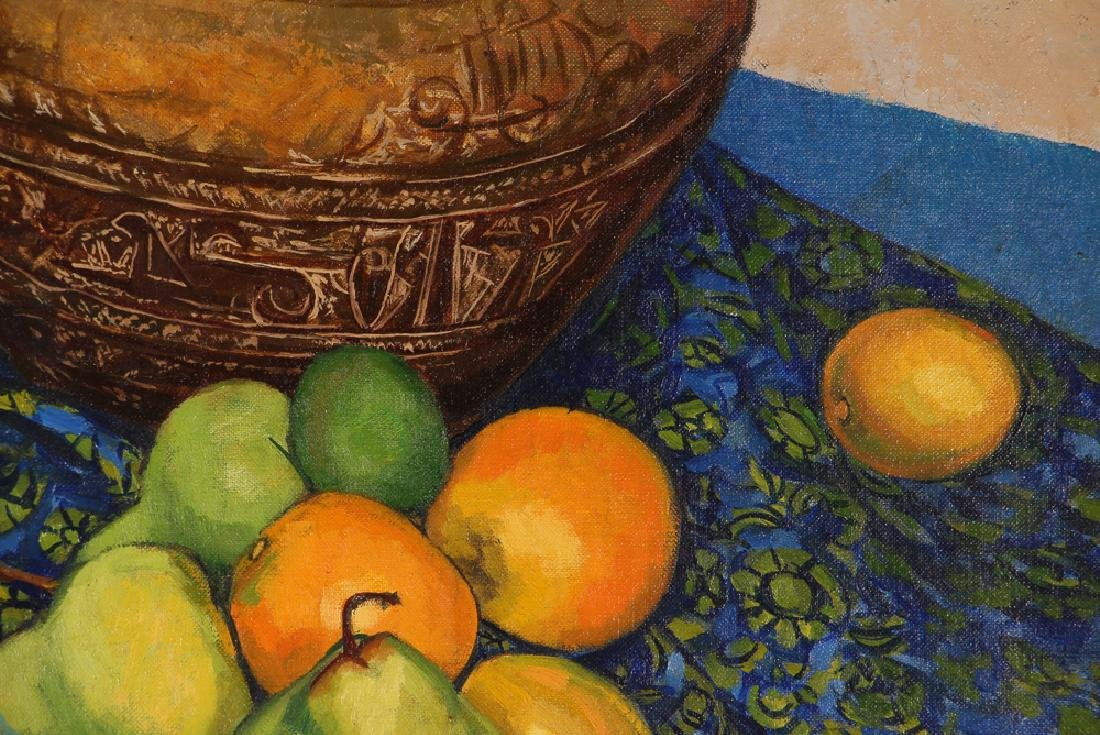 "Jerry Pfohl oil ""Still Life of Oranges and Pears"" oil - 6"
