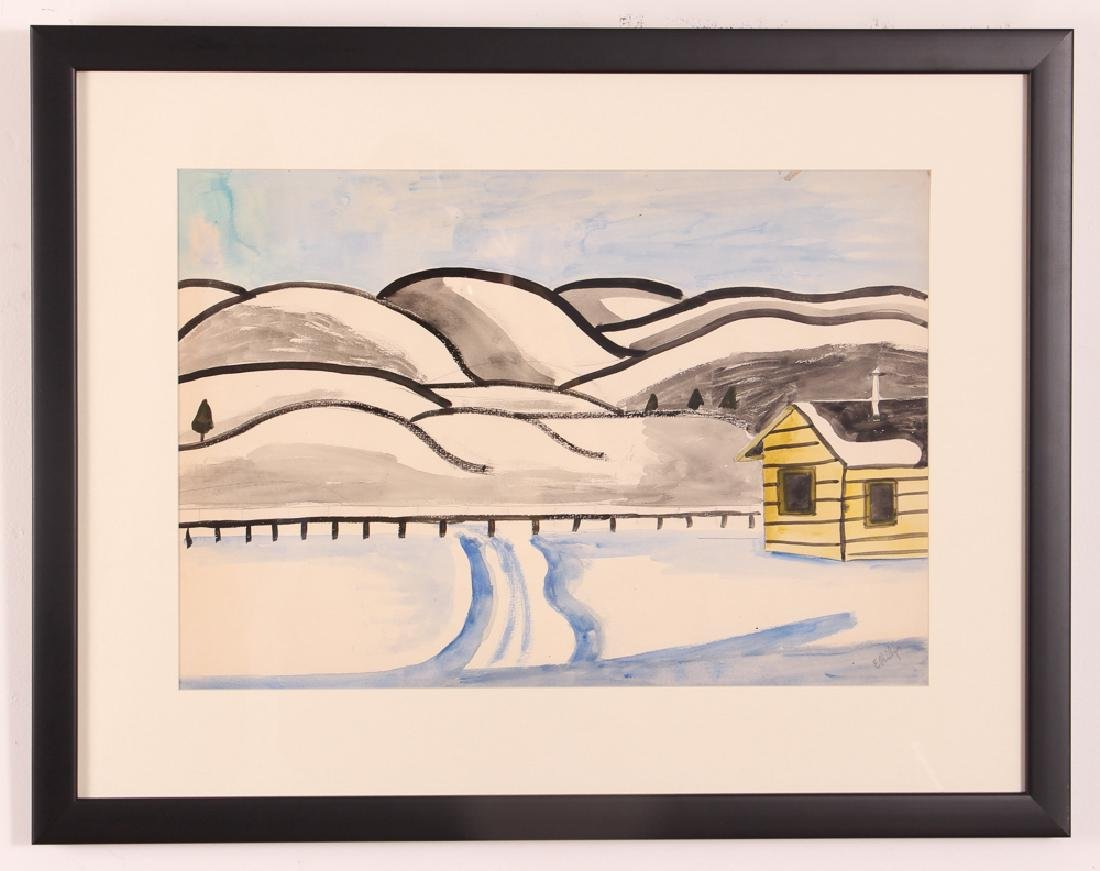 Esther Phillips Watercolor Snowy Mountain Landscape - 2