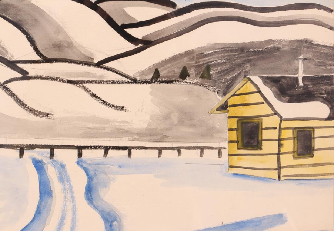 Esther Phillips Watercolor Snowy Mountain Landscape - 4