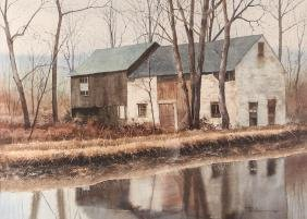 Charles Pitcher Farmhouse along Stream 1978 Watercolor