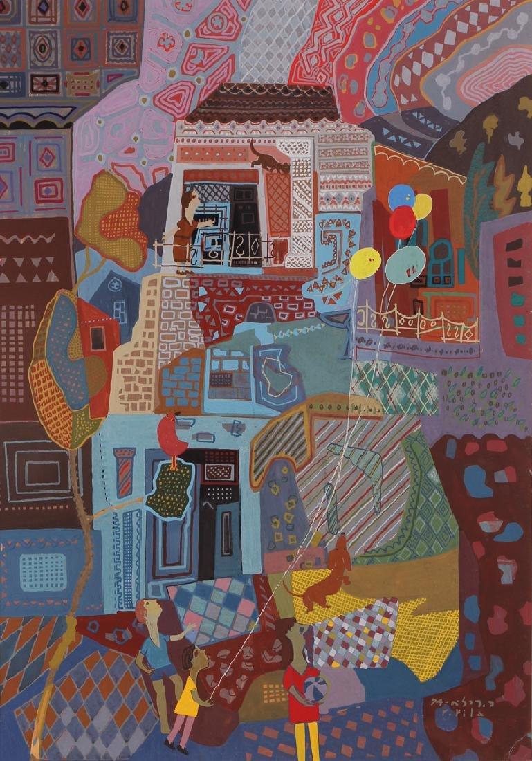 Rafael Rila Gouache Cityscape Painting