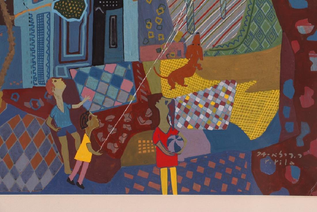 Rafael Rila Gouache Cityscape Painting - 6