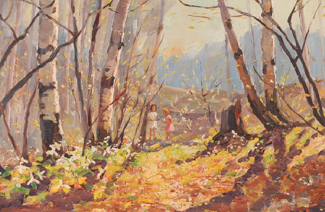 "Thomas Keith Roberts painting ""Little Girls Picking - 5"