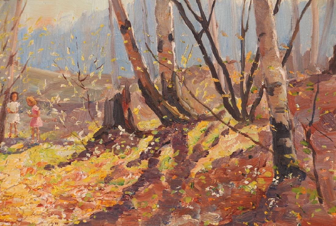 "Thomas Keith Roberts painting ""Little Girls Picking - 6"