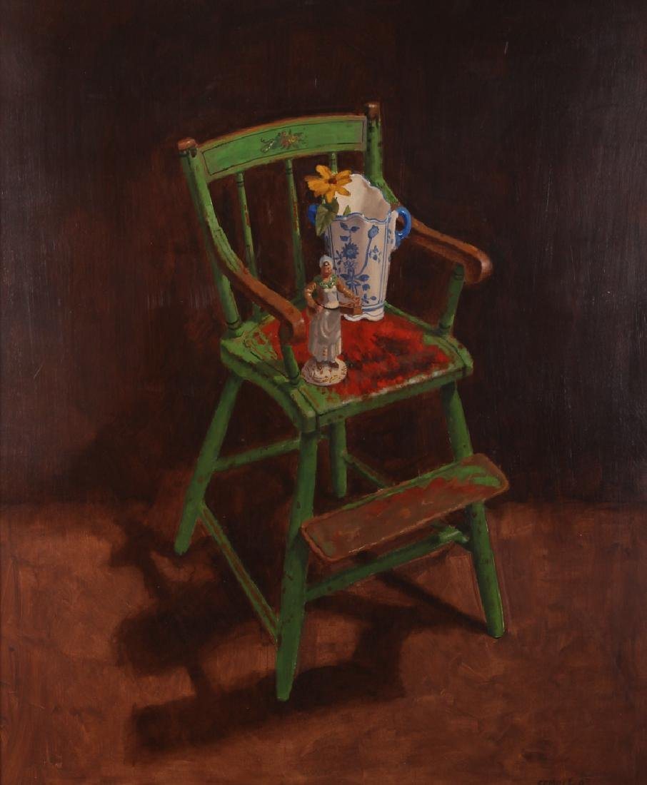 "John P. Semple 2003 painting ""Green High Chair"""