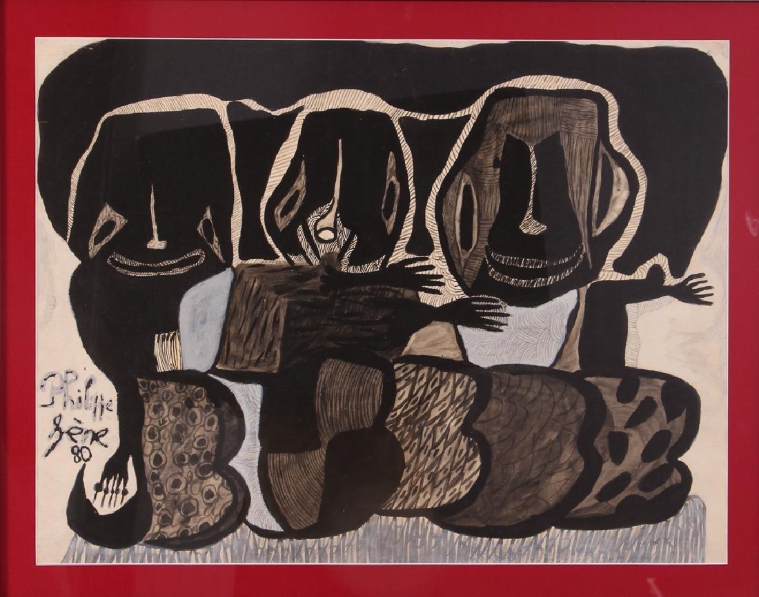 Philippe Sene Untitled Gouache Painting