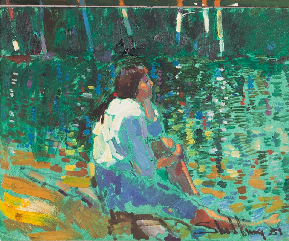 "Arthur Shilling  1981 painting ""Native American Woman"