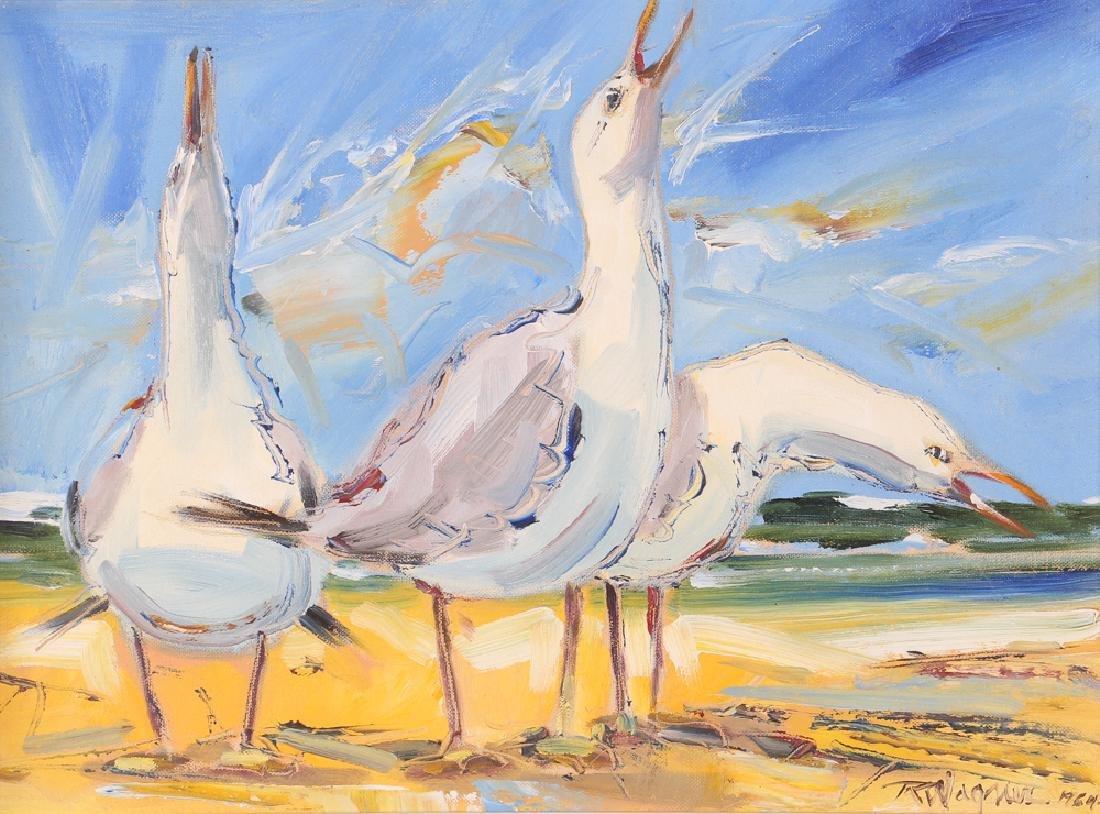 Richard Wagner Quarrelling Gulls Seaside Painting
