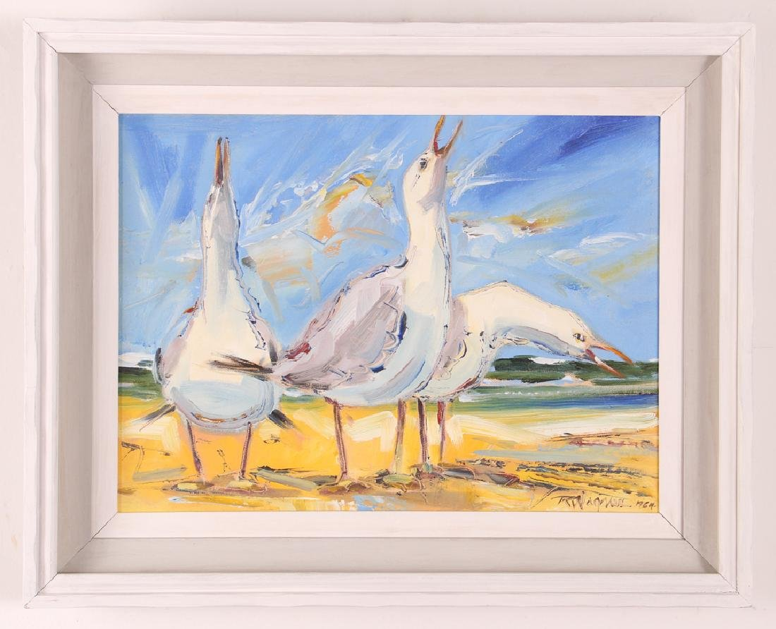 Richard Wagner Quarrelling Gulls Seaside Painting - 2