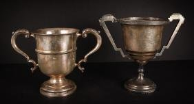 Two Large English Sterling Silver Golf Trophies