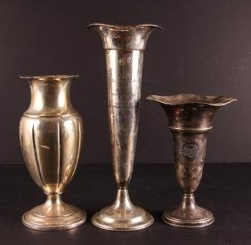 Three Large Vase Form Sterling Golf Trophies
