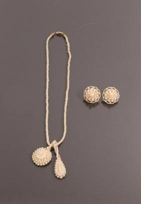 Antique Seed Pearl Earrings, Pendant & Rope Chain