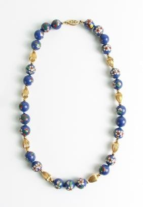 Ladies Enameled and Gold Bead Necklace