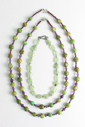 Three Assorted Necklaces Including Agate, Amethyst and