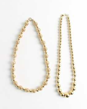 Two Contemporary 14K Yellow Gold Bead Necklaces