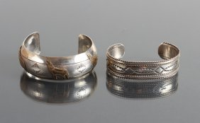 Two Sterling Silver Navajo Bracelets