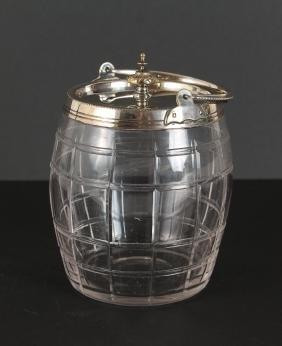 English Glass Biscuit Jar