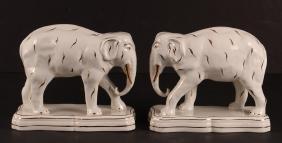Pair Staffordshire Style Elephants
