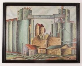 Industrial Scene Painting Signed Haney