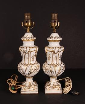 Pair Carlin Comforts French Porcelain Lamps