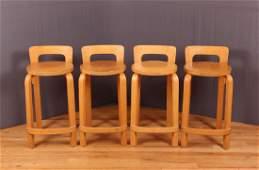 4 Alvar Aalto Teak Barstools K65 High Chair Stool