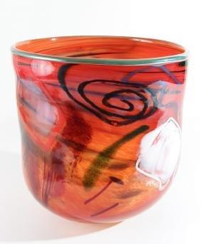 Kathleen Mulcahy Orange Basket Vase