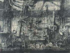 Herbert Olds Tool Surface charcoal drawing