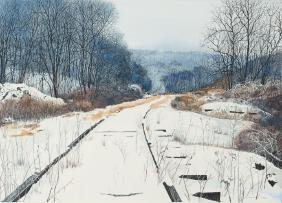 Charles Pitcher Library Rail watercolor/drawing, 1985