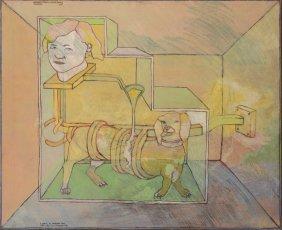 "Peter Sengl 1973 painting "" Hundebetraufelungs (Loffel)"