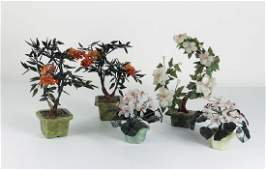 Five Vintage Chinese Hardstone Floral Centerpieces