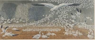 Janet Turner hybrid print Wintering Snow Geese