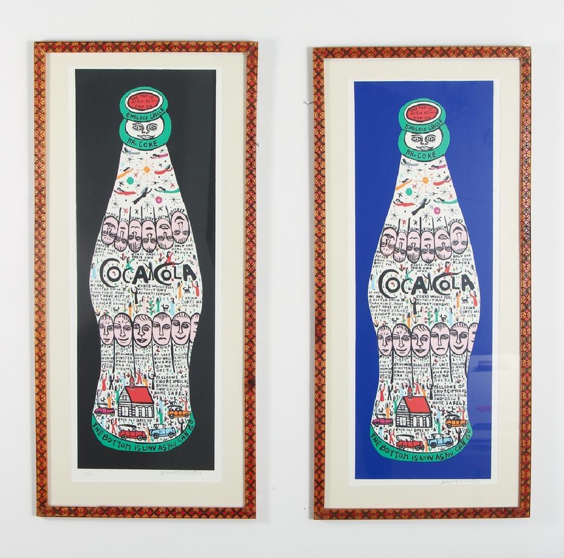 2 Howard Finster signed Coca Cola prints, framed